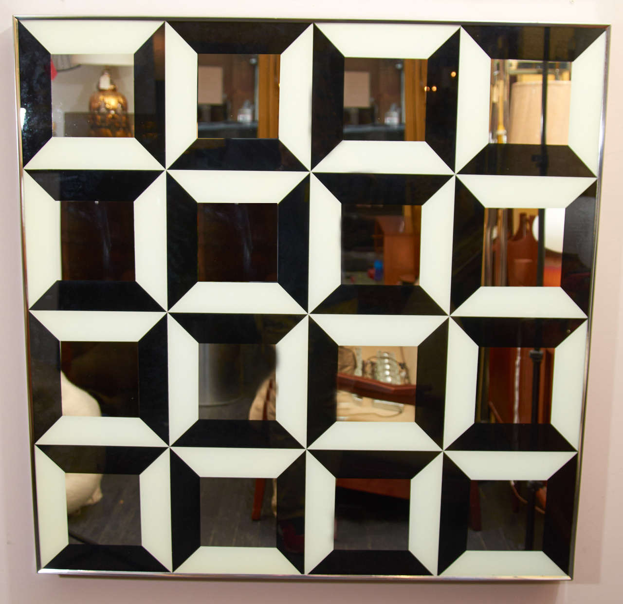 Mid-Century Modern Black and White Op Art Wall Mirror For Sale
