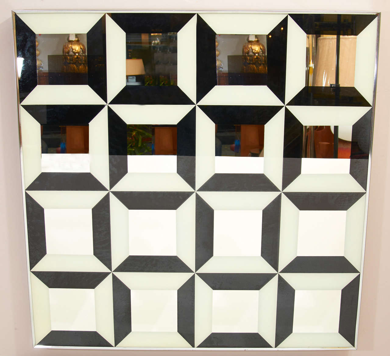 American Black and White Op Art Wall Mirror For Sale