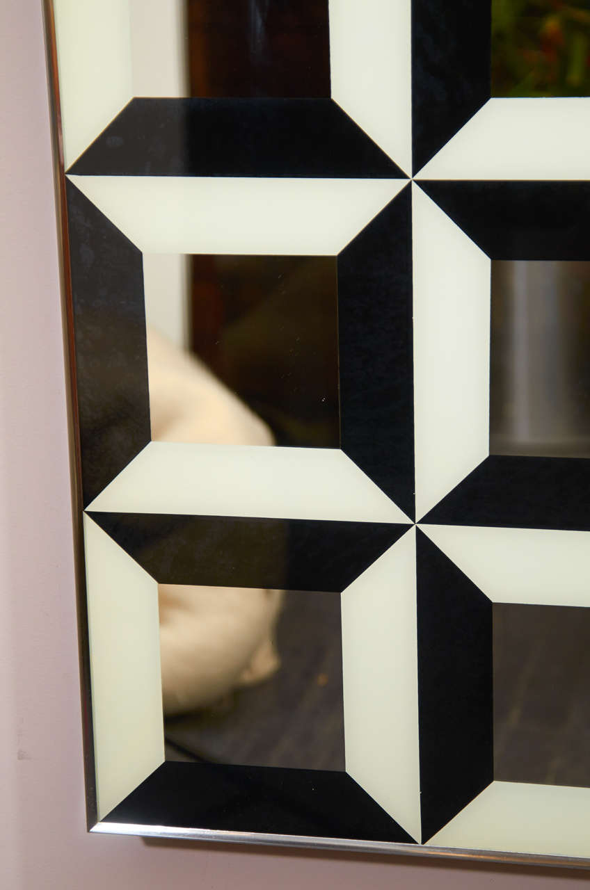 Black and White Op Art Wall Mirror For Sale 1