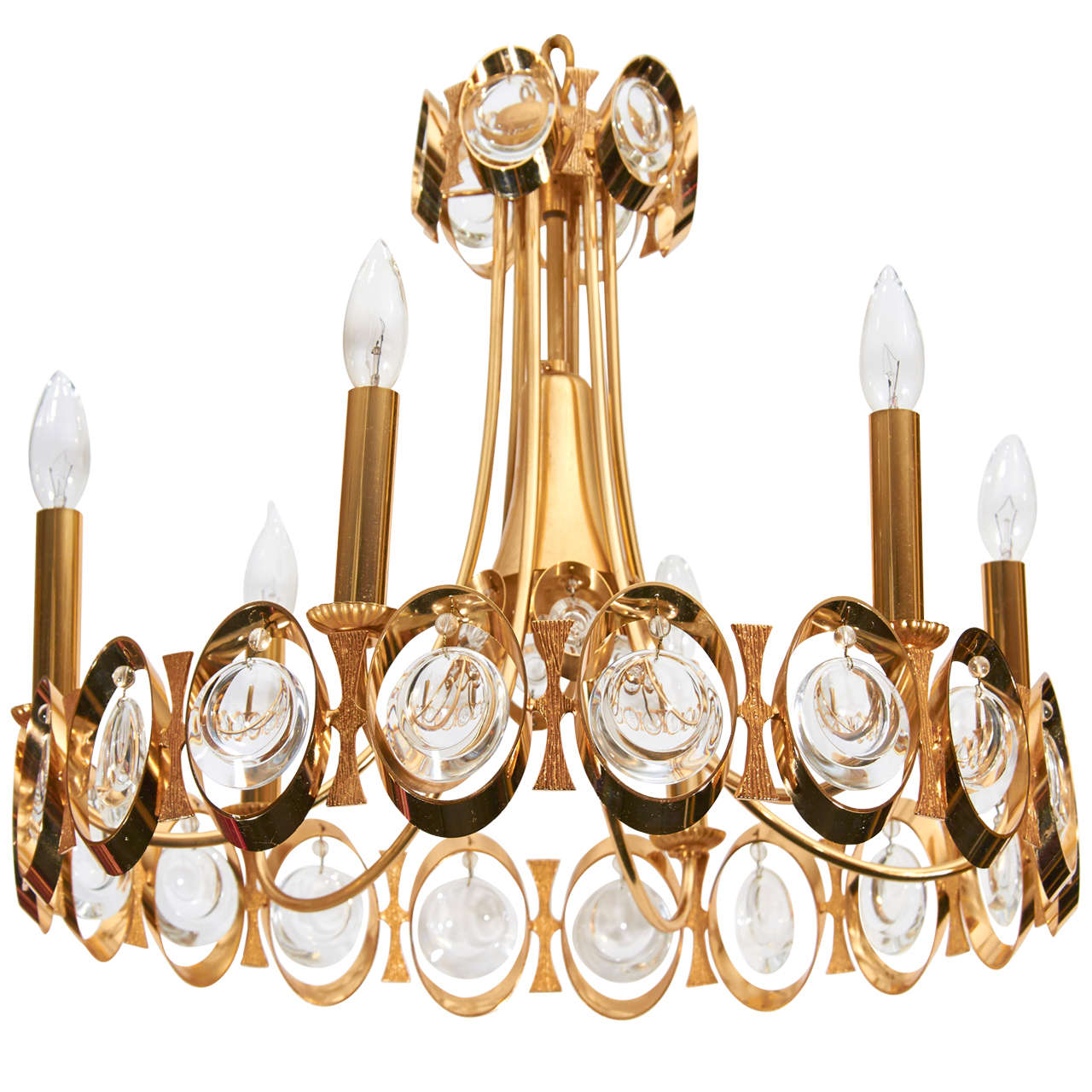 Gilt and Crystal Chandelier by Palwa