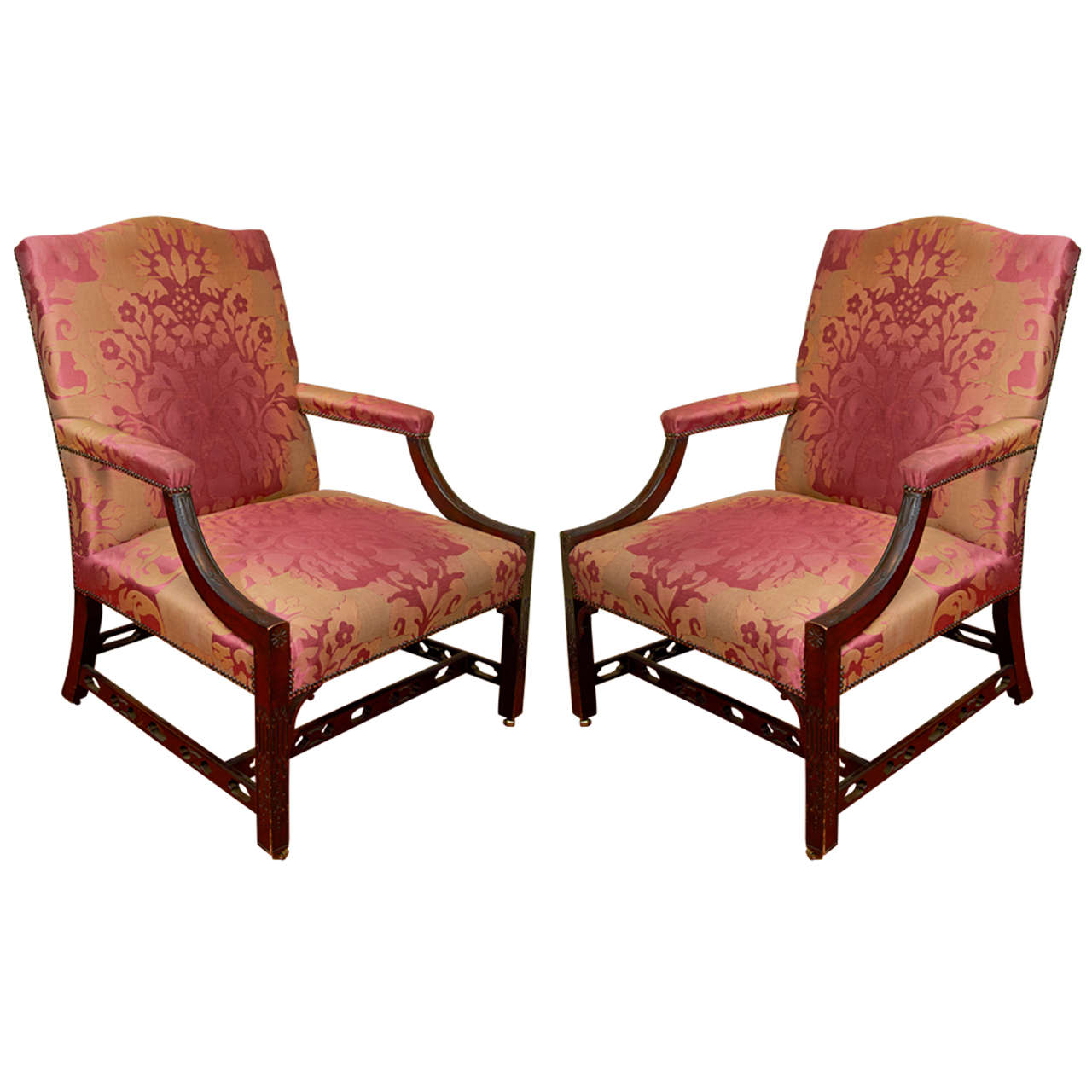 Pair of 18th Century Upholstered Gainsborough Armchairs