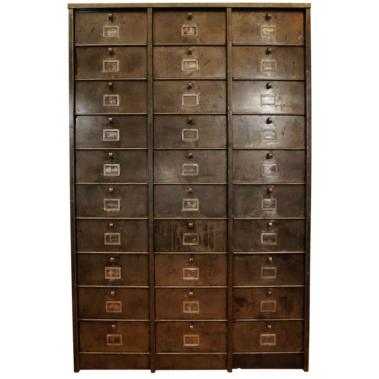 French Industrial Metal Cabinet 30 Drawers At 1stdibs