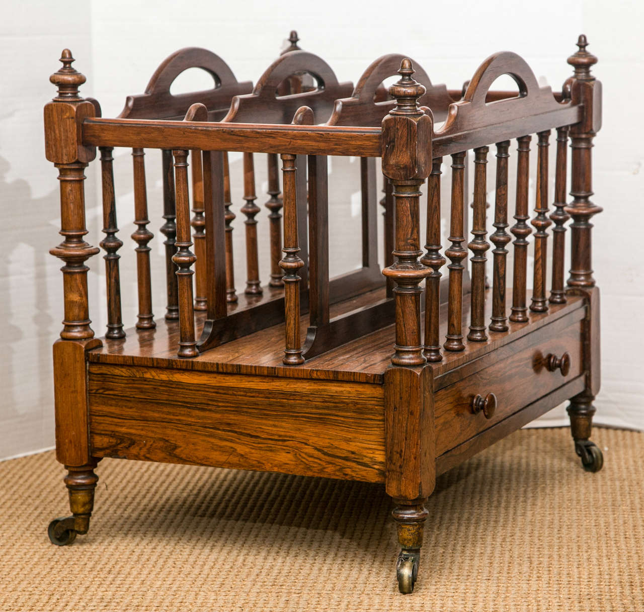 Rare Four Handled 19th Century English Mahogany Canterbury For Sale 2