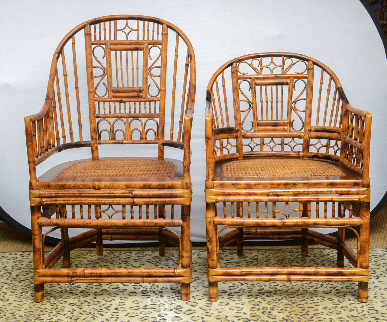 Four Bamboo Chinese Chippendale Chairs With Cane Seat, Two Armchairs (42