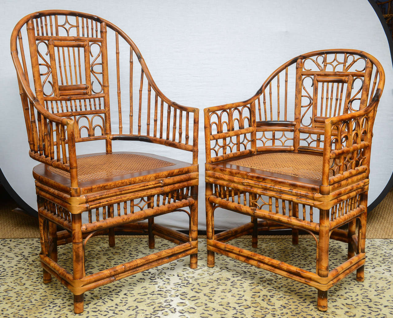 Attractive Superb Set Of Four Bamboo Vintage Chinese Chippendale Chairs And Two  Armchairs 3