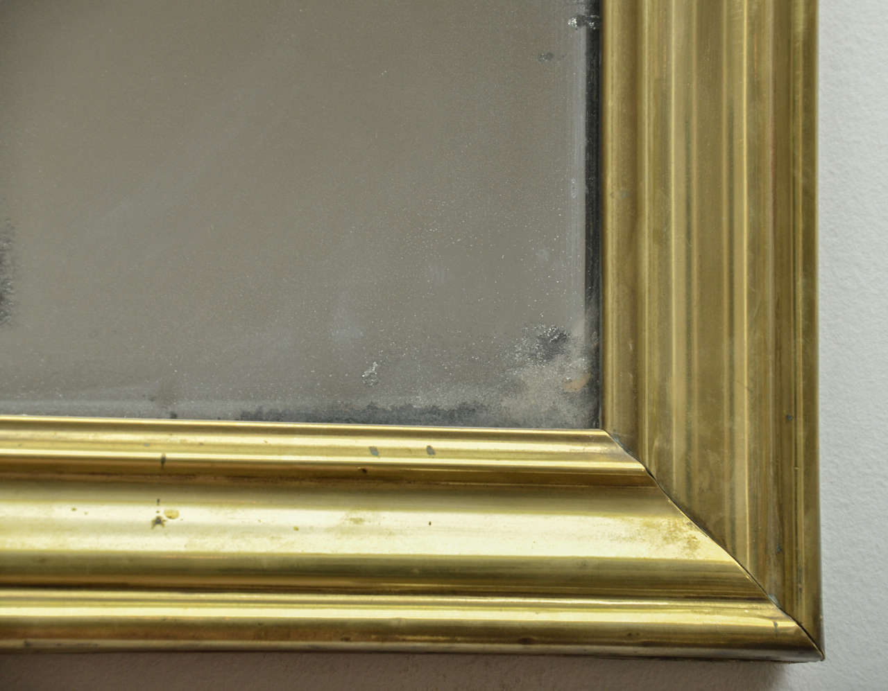 19th Century French Brass Bistro Mirror In Good Condition For Sale In East Hampton, NY