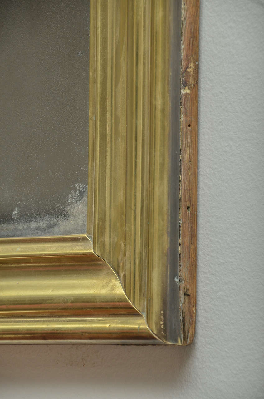19th Century French Brass Bistro Mirror For Sale 1