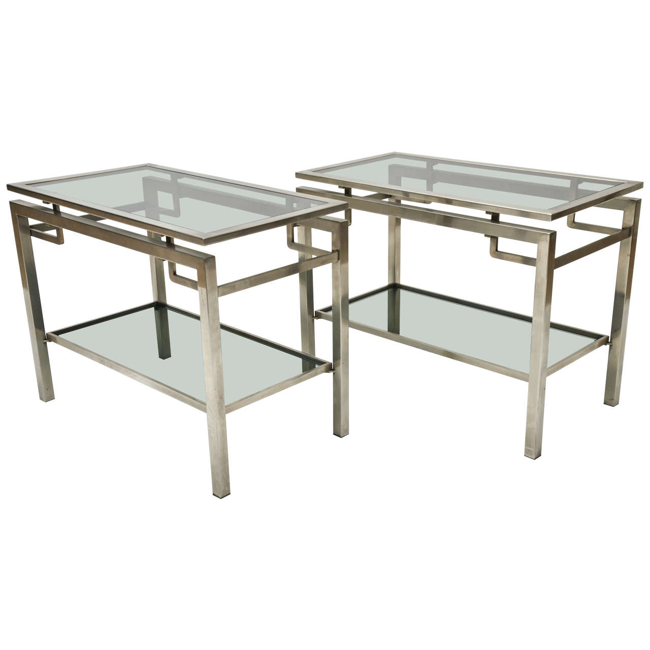 Pair of Mid-Century Modern French Guy Le Fevre Chrome Two-Tier Side Tables For Sale