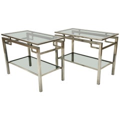 Pair of Mid-Century Modern French Guy Le Fevre Chrome Two-Tier Side Tables
