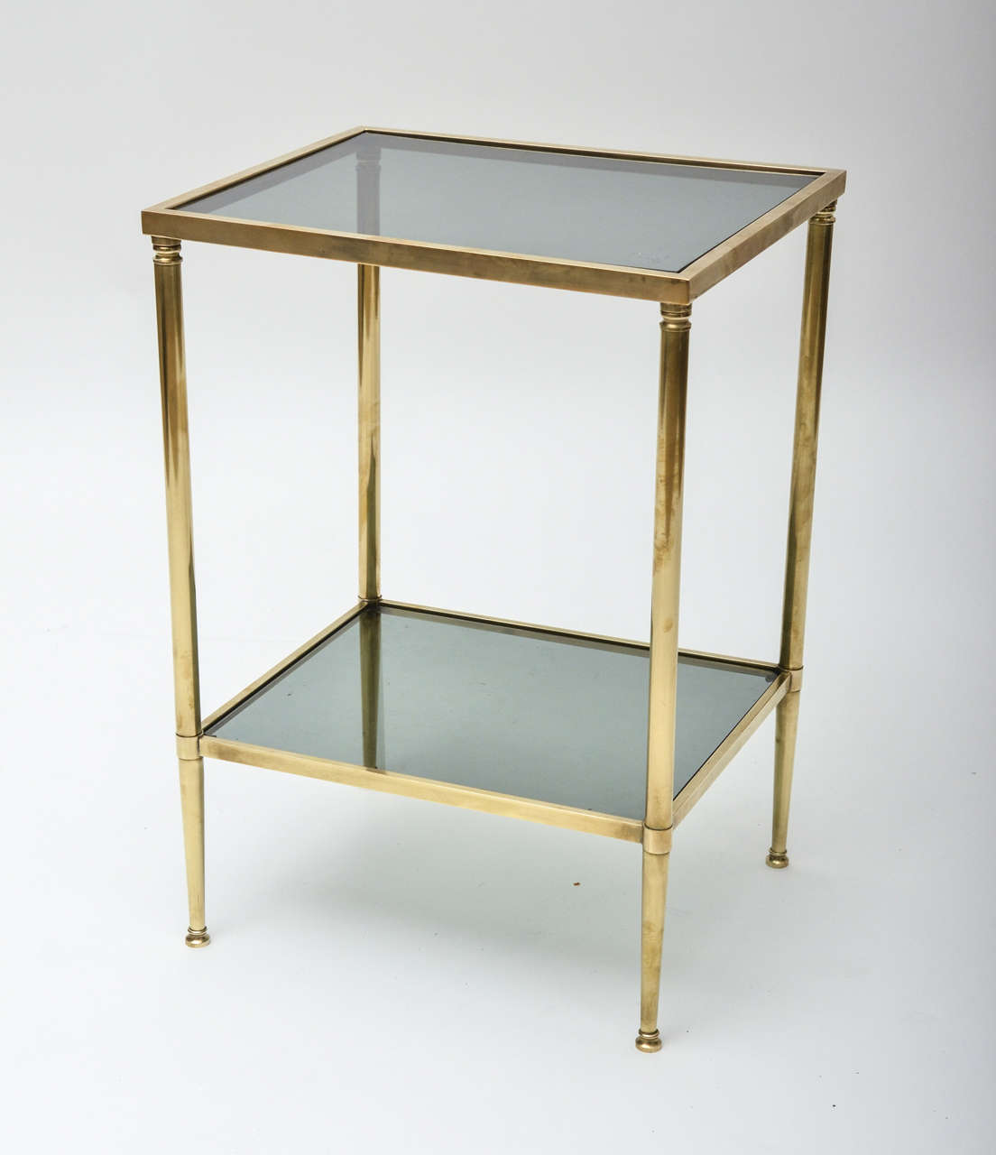 MidCentury Modern French Brass And Glass TwoTier Side Table At Stdibs - Two tier glass side table