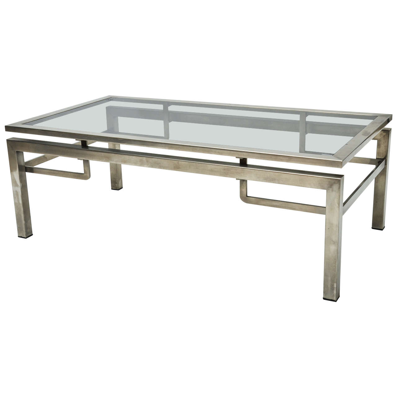 Mid Century Modern French Guy Lefevre Chrome Coffee Table For Sale At 1stdibs