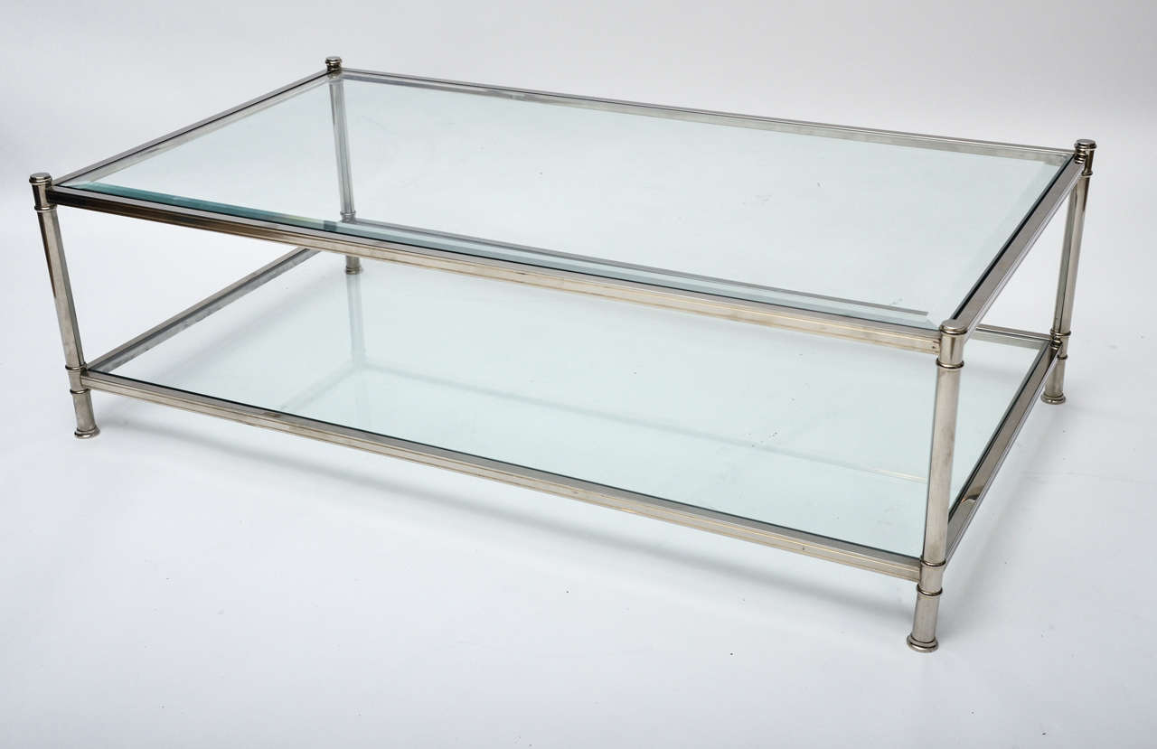 Mid Century Modern French Chrome And Glass Two Tier Coffee Table For Sale At 1stdibs