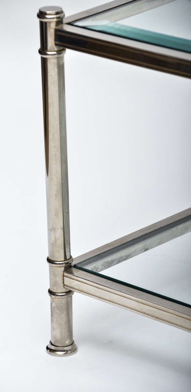Mid-Century Modern French Chrome and Glass Two-Tier Coffee Table In Excellent Condition For Sale In East Hampton, NY