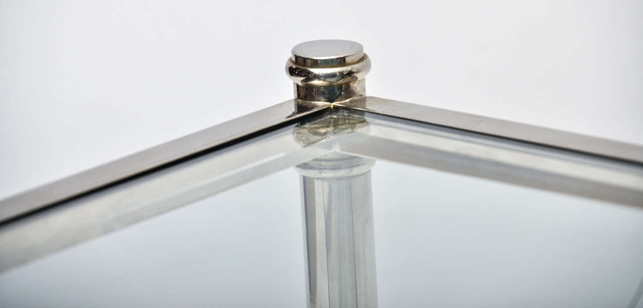 Mid-Century Modern French Chrome and Glass Two-Tier Coffee Table For Sale 1