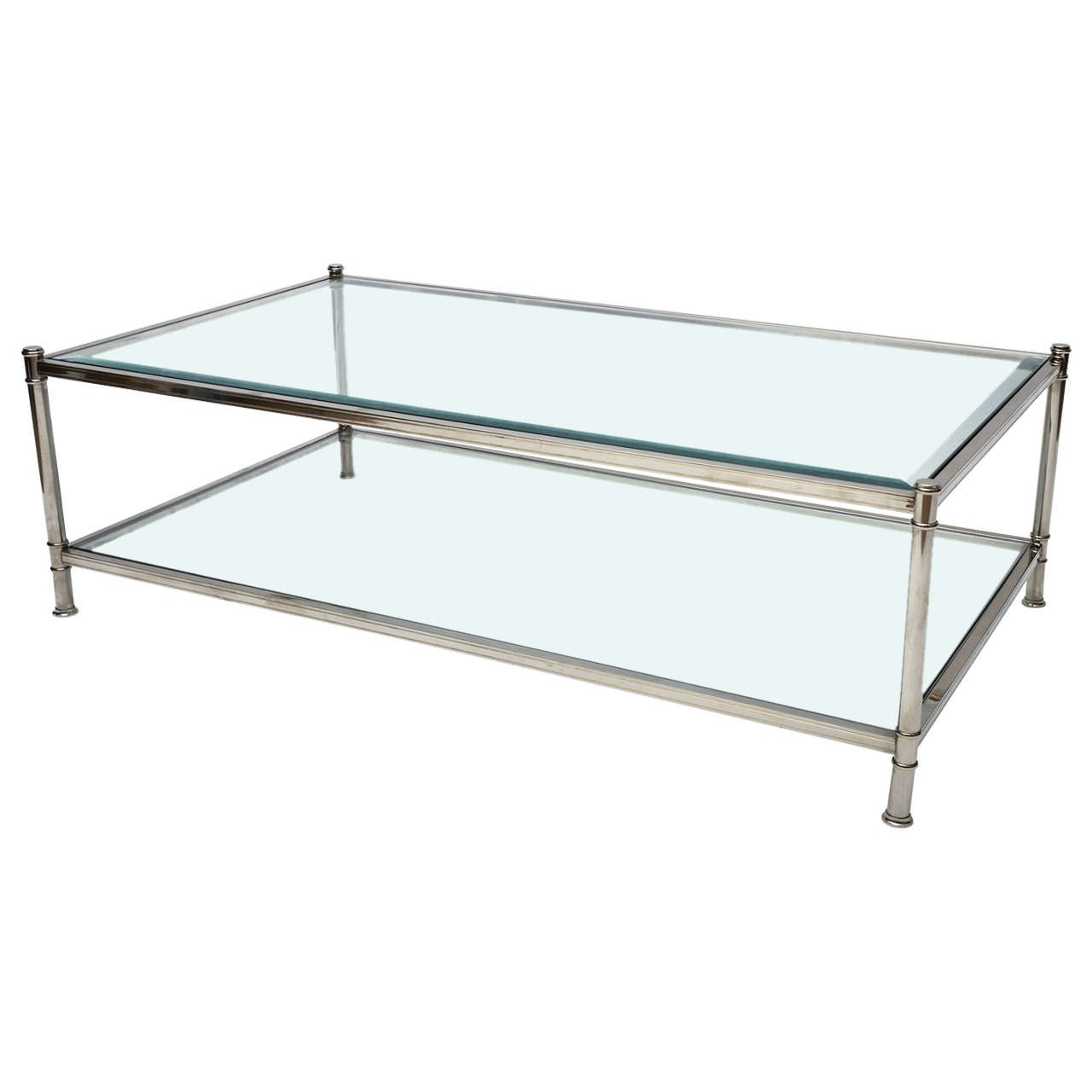 Mid century modern french chrome and glass two tier coffee for French glass coffee table