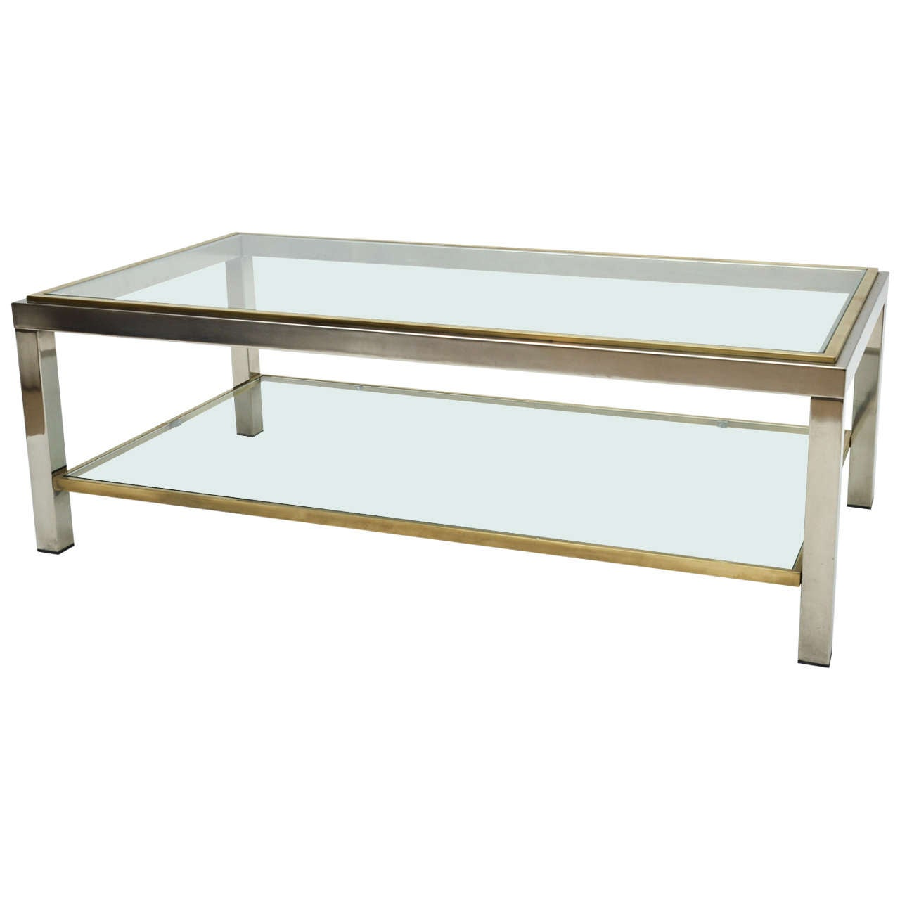 Mid century modern french brass and chrome glass coffee for Contemporary glass top coffee table
