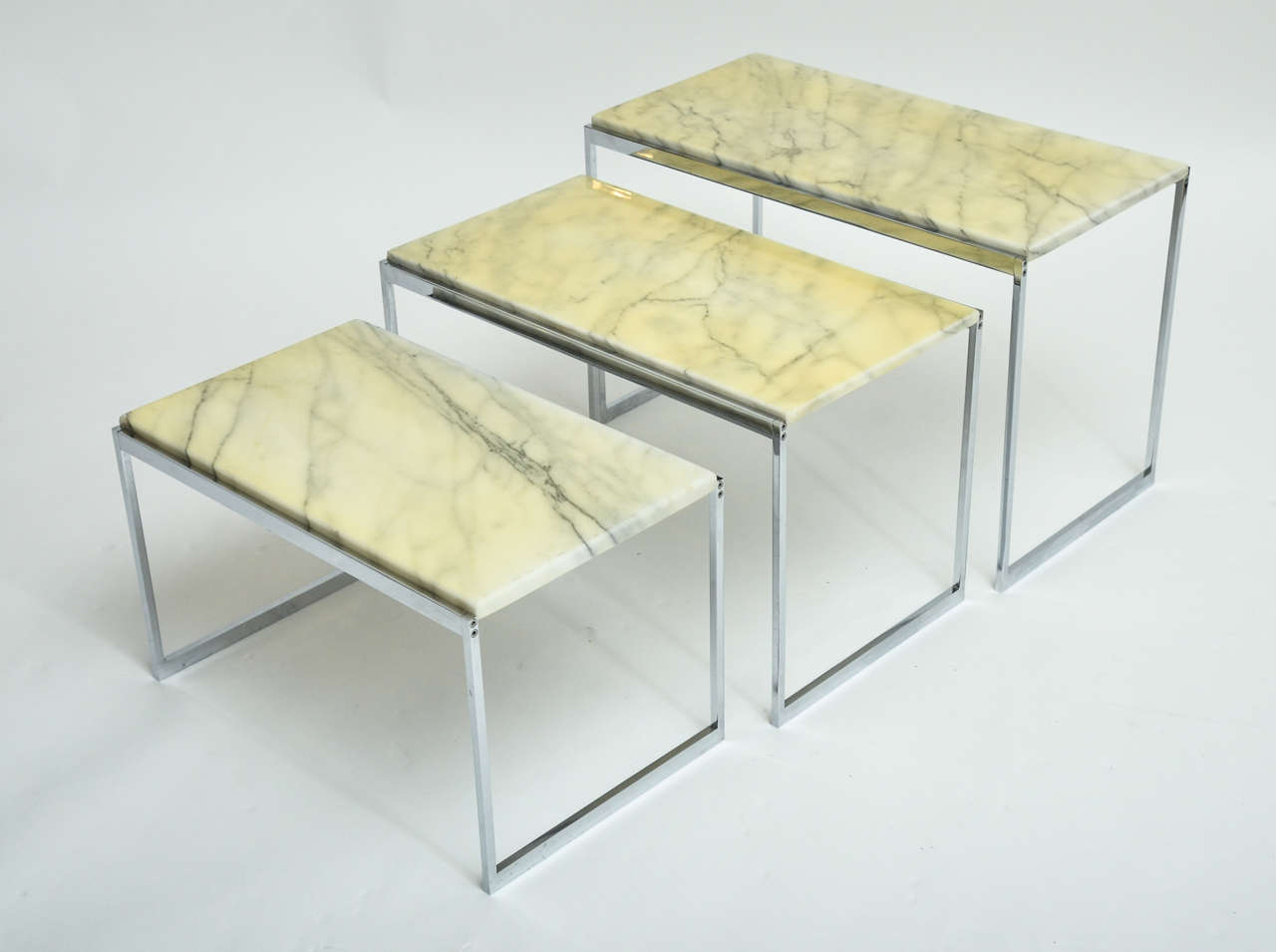 1970s Italian Chrome And Marble Nest Of Three Tables With Original Dimensions Listed Are