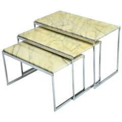 Mid-Century Modern Italian Chrome and Marble Nesting Tables