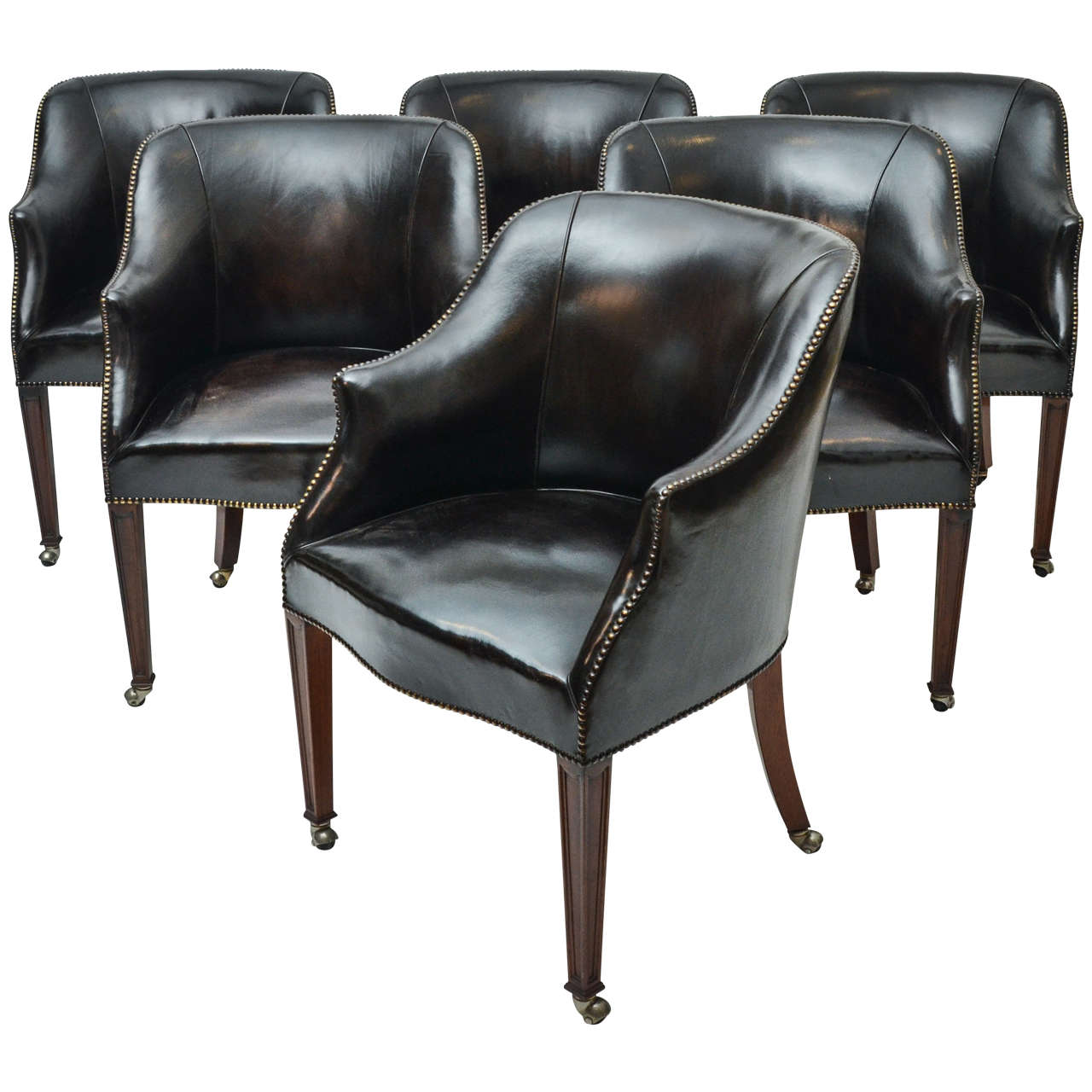 Set Of Six 1940s Leather Upholstered Dining Chairs From