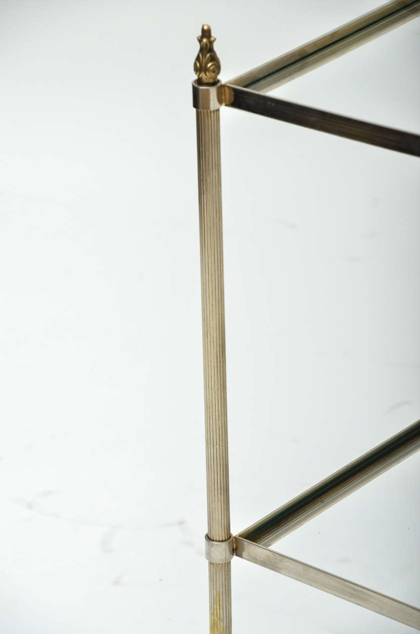 Mid-Century Modern Pair of French Brass and Glass Side Tables For Sale 3