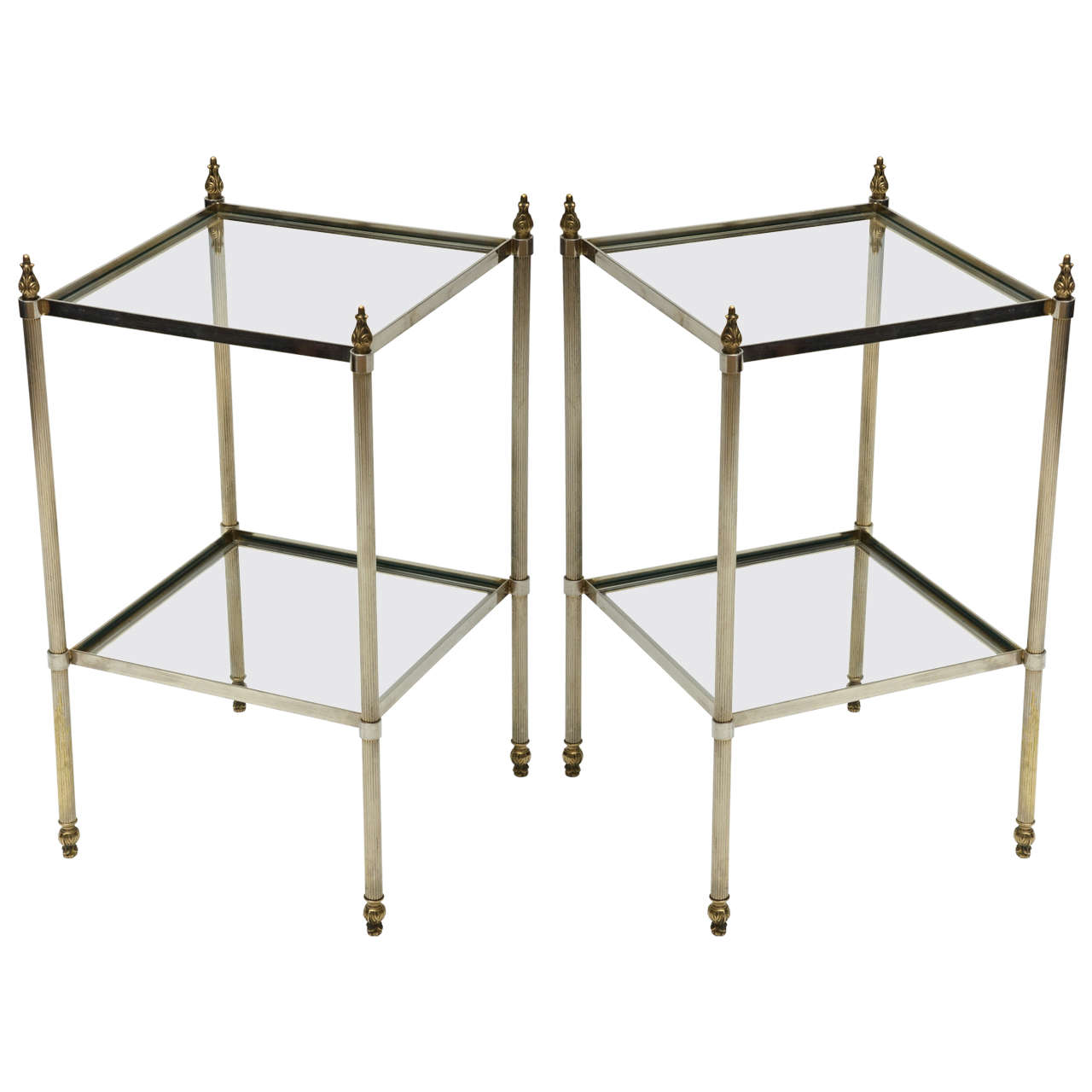 Mid-Century Modern Pair of French Brass and Glass Side Tables