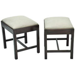 Pair of 1950s English Upholstered Stools