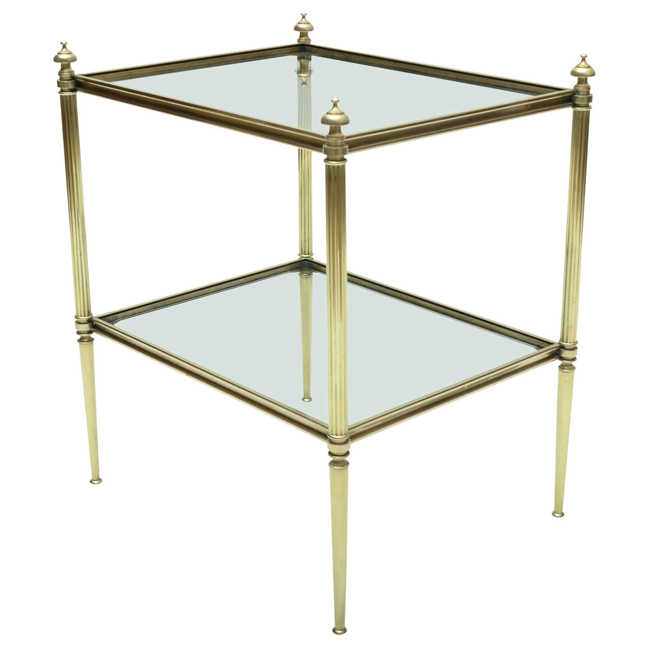 Mid-Century Modern French Maison Jansen Brass and Glass Side Table