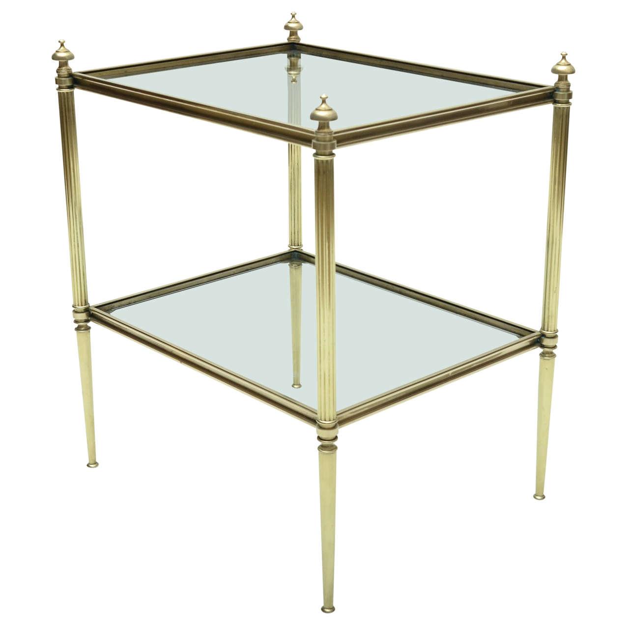 midcentury modern french maison jansen brass and glass side table  - midcentury modern french maison jansen brass and glass side table