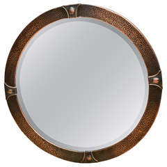 English 1920's Arts and Crafts Copper Mirror