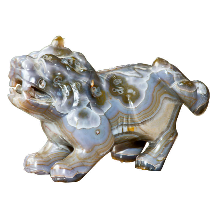 Large Chinese19th Century Carved Agate Foo Dog