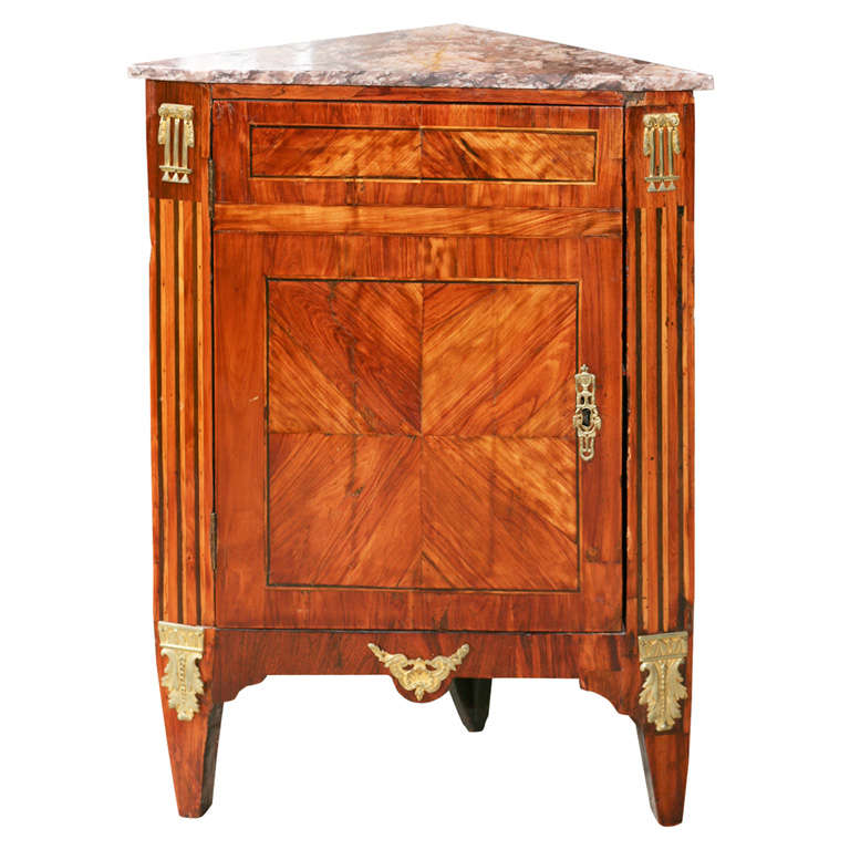 a period louis xvi small marble top corner cabinet for sale at 1stdibs