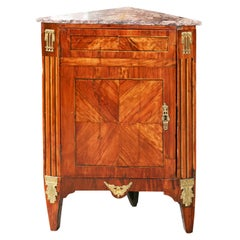 Period Louis XVI Small Marble Top Corner Cabinet