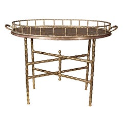 Maison Jansen Faux Bamboo Tray Top Table