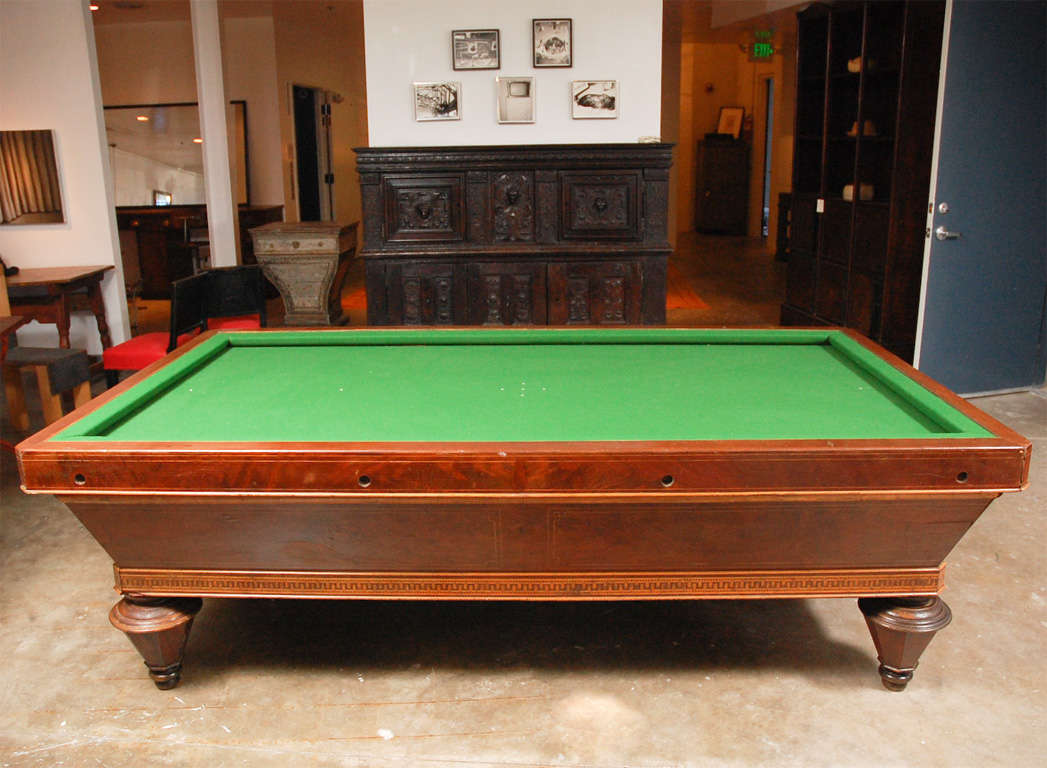 1860s Italian Carom mahogany billiard table with inlay. A gorgeous Carom 'pocketless' style billiards pool table in mahogany with exceptional parquetry inlay and tapered legs, from the Piedmonte region.