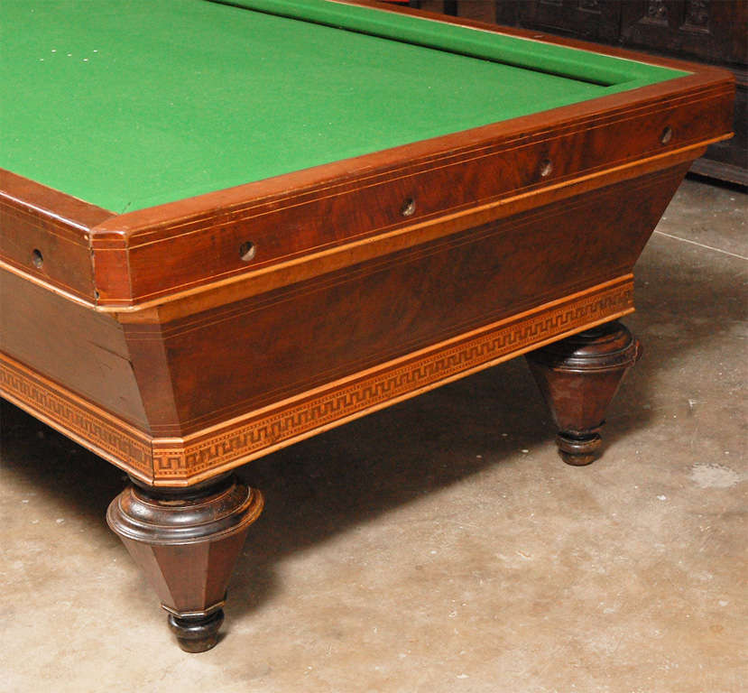 Victorian 1860s Italian Carom Mahogany Billiard Table with Inlay For Sale