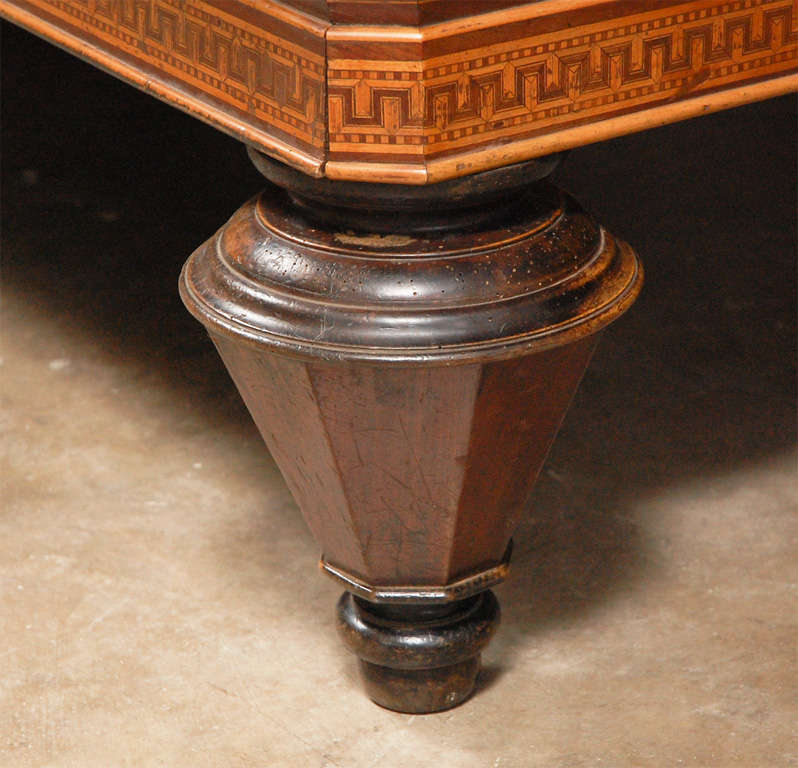 1860s Italian Carom Mahogany Billiard Table with Inlay In Good Condition For Sale In Los Angeles, CA