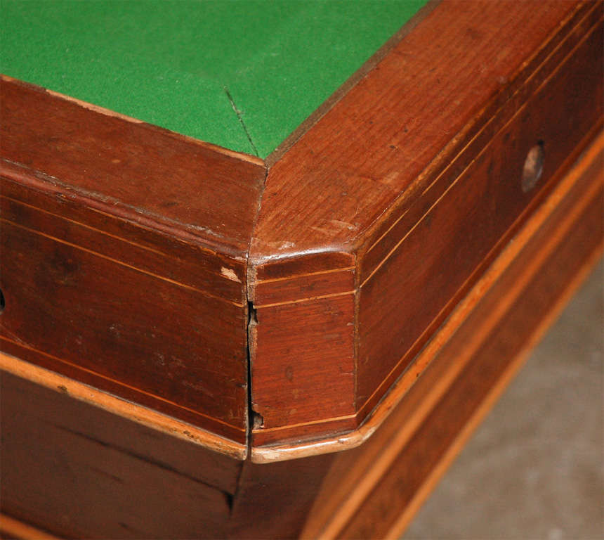 Felt 1860s Italian Carom Mahogany Billiard Table with Inlay For Sale