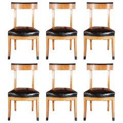 1900s French Dining Chairs with Upholstered Black Leather Seats
