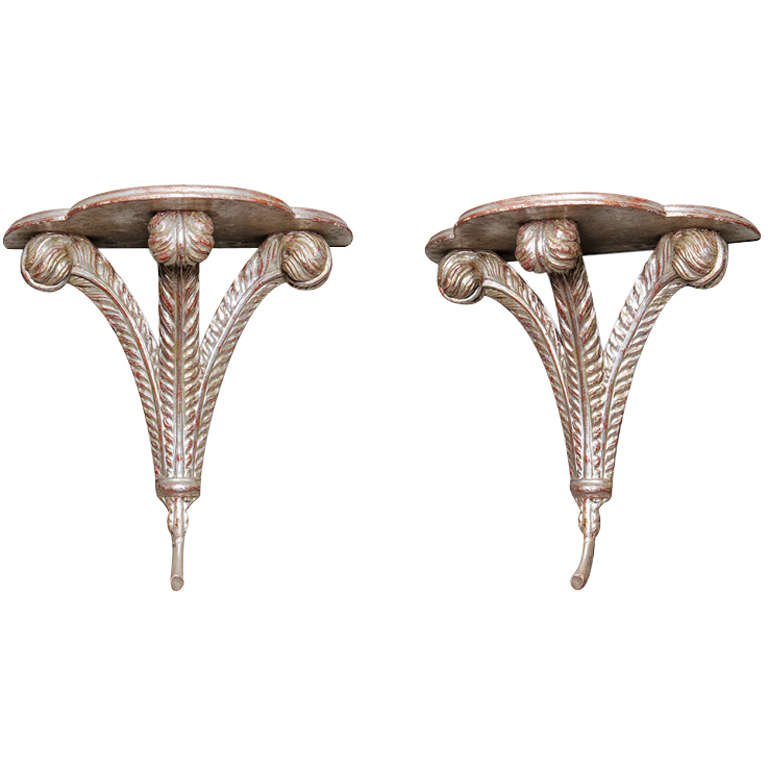 Pair of Silver Leaf Wall Brackets For Sale