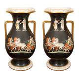 Pair of 19th Century Porcelain Amphora Urns