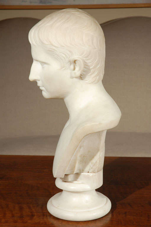 French, marble bust of a young Napoleon done in the style of Caesar.