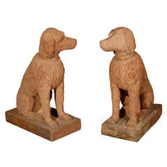 Large Pair of Left and Right Terracotta Poodles