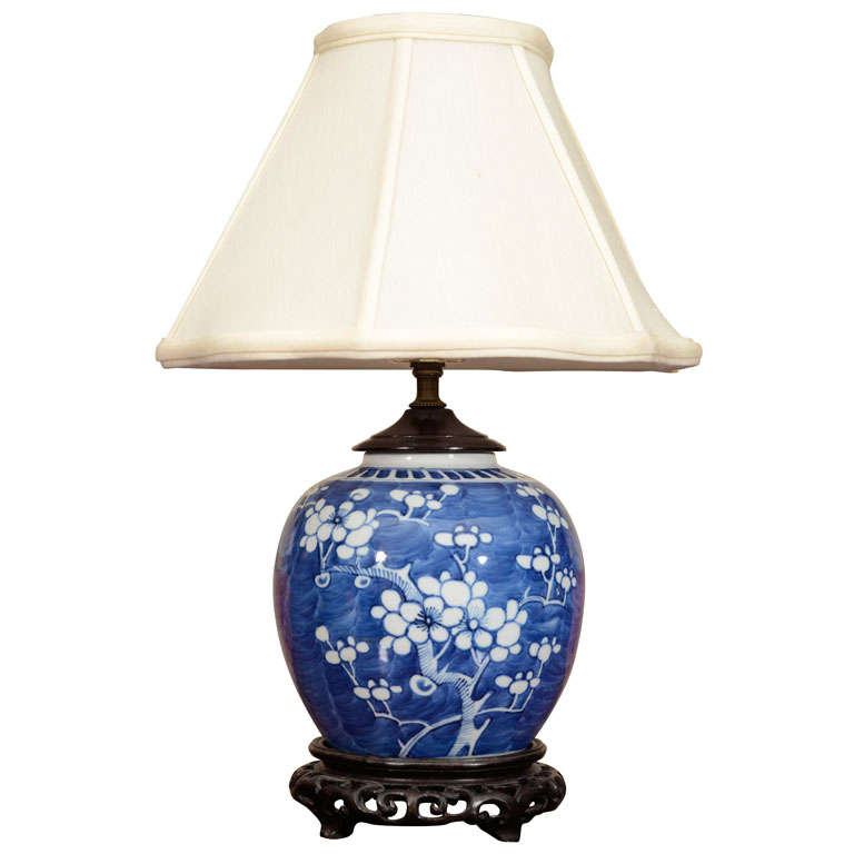 chinese blue and white electrified ginger jar at 1stdibs. Black Bedroom Furniture Sets. Home Design Ideas
