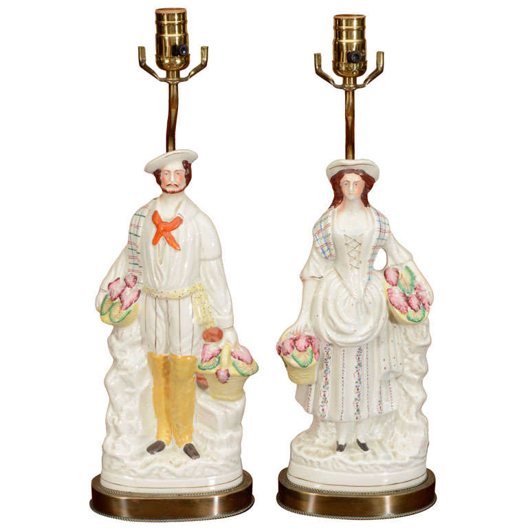 Pair Of Staffordshire Figures Mounted As Lamps At 1stdibs