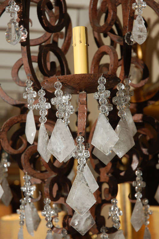 Louis XV Six-Light Wrought Iron Rock Crystal Chandelier For Sale