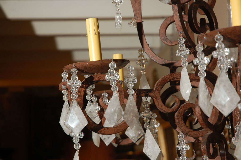 American Six-Light Wrought Iron Rock Crystal Chandelier For Sale