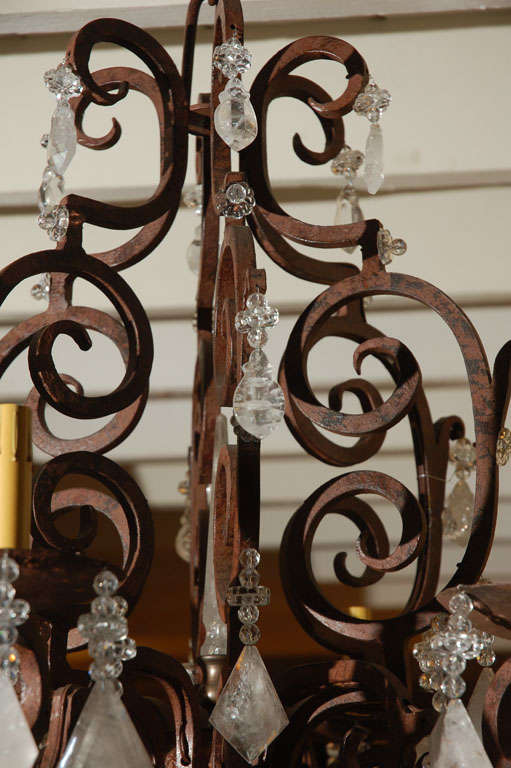 20th Century Six-Light Wrought Iron Rock Crystal Chandelier For Sale