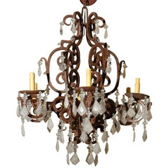 Six-Light Wrought Iron Rock Crystal Chandelier