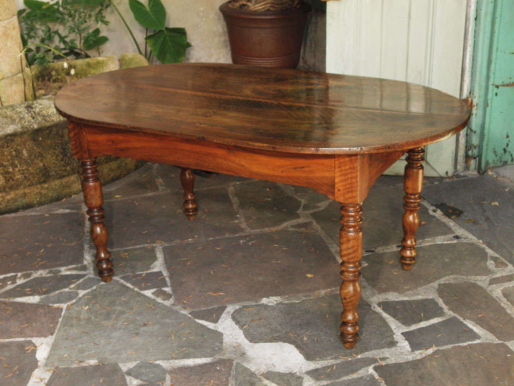 French Walnut Oval Farm Table at 1stdibs