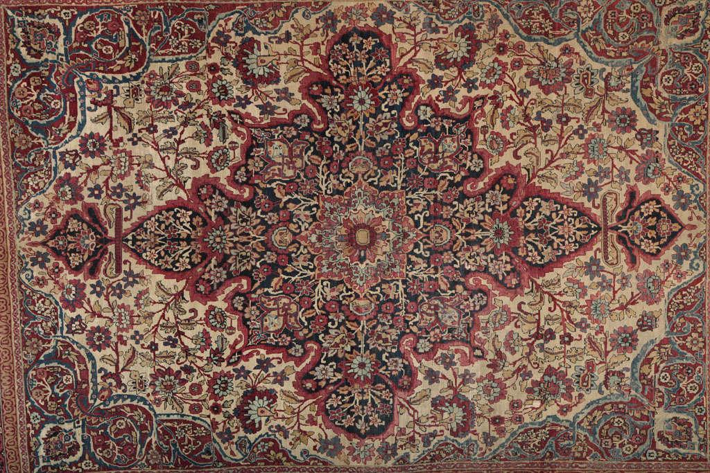 Vegetable Dyed Persian Kermanshah Carpet circa 1880 in Handspun Wool and Vegetable Dyes For Sale